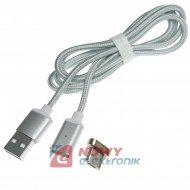 Kabel USB-micro USB magnet. 1m 2.4A z LED mikro magnetyczny srebrny