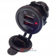 Ładowarka USB 12-24V /5V 1A 2A LED RED, montażowa z klapką,