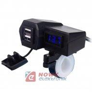 Ładowarka USB 12-24V /5V 3.1A BLUE +VOLT. NA KIEROWNICE