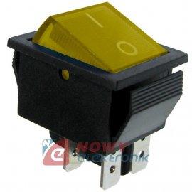 Przeł.podśw.duży AC żółty/pomar. ON-OFF 230V/15A 2-tor.