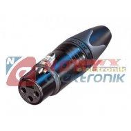 Gniazdo mikr. 3 pin XLR NEUTRIK srebrzone-czarne