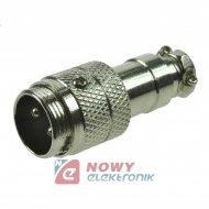 Gniazdo męskie NC802(2-M) na kab 6A 125V wtyk prosty na kabel