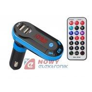 Transmiter FM BLOW Bluetooth LCD + ładowarka 2xUSB 1,5A