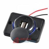 Ładowarka USB 12-24V /5V 1A 2.1A LED BLUE, montażowa z klapką,