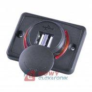 Ładowarka USB 12-24V /5V 1A 2.1A LED RED, montażowa z klapką,