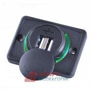 Ładowarka USB 12-24V /5V 1A 2.1A LED GREEN, montażowa z klapką,