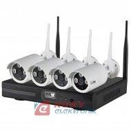 Zestaw monitoringu bezprzew 1.3M 4-kanał. WI-FI kamery białe