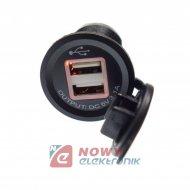 Ładowarka USB 12-24V 3.1A ORANGE LED 2.1A+1A montażowa