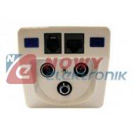 Gniazdo abon. TV/FM/SAT+RJ45/11 BX300  antenowe
