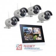 """Zestaw monitoringu bezprzew LCD 4-kanał. WI-FI z monitorem 10"""" LCD"""