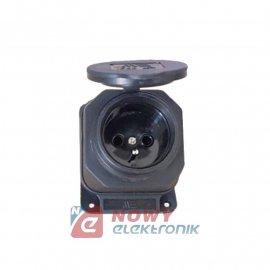 Gniazdo sieciowe 230V gumowe IP44 skośne natynkowe czarne
