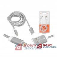 Kabel USB-Apple iPhone/8p 1m sr. srebrny  ipad