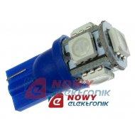 Dioda LED T10 5SMD5050 Blue 12V T10 W5W  niebieska