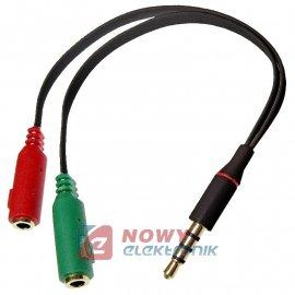 Przejście wt.JACK 4-pol 3,5/ 2gn JACK 15cm adapter słuchaw.+mikrof.czarny
