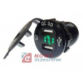 Ładowarka USB 12-24V /5V QC 3.0 ALUMINIUM BLACK+VOLTOMIERZ GREEN