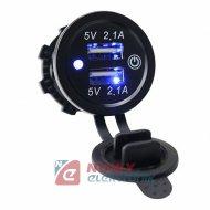 Ładowarka USB 12-24V 4.2A BLUE +wyłącznik TOUCH montażowa