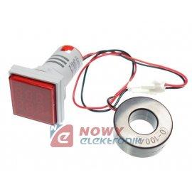 Kontrolka LED Volt+Amper. czerwo kwadrat min.0,6A, 60-500VAC miernik