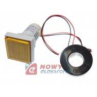 Kontrolka LED Volt+Amper. żółta kwadrat min.0,6A, 60-500VAC miernik