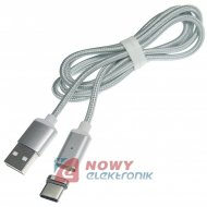 Kabel USB-Typ C magnet. Srebrny 1m TYP-C 2.4A z LED NEPOWER magnetyczny