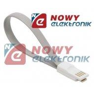 Kabel USB-mikro USB z magnesem szare krótki do Power BANK