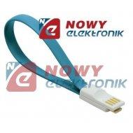Kabel USB-mikro USB z magnesem niebieskie krótki do Power Bank