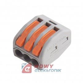 Szybkozłączka 3-tor drut/linka  10szt. zacisk złączka elektryczna