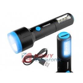 Latarka ręczna 1-LED 3W+4-LEDSMD z akum.1200mAh,kabel micro USB