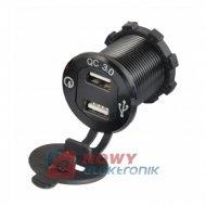 Ładowarka USB 12-24V /5V QC 3.0 ALUMINIUM BLACK + VOLTOMIERZ BLUE