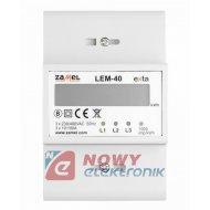 Miernik poboru energii 3-faz LEM LEM-40 licznik DIN ZAMEL /Watomierz