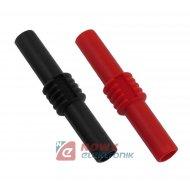 Łącznik banan adapter zestaw 2sz izolowany czarny/czerwony gniazdo