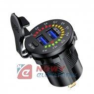 Ładowarka USB 12-24V QC 3.0 woltomierz wyłącznik voltomierz
