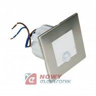 Oprawa LED schodowa z PIR kwadratowa srebna
