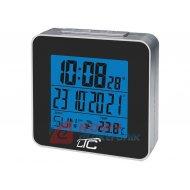 Budzik Cyfrowy LCD z termometr. LED Zegar, termometr, czarny